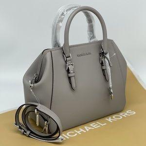Michael Kors Charlotte Satchel Bag Pearl Grey
